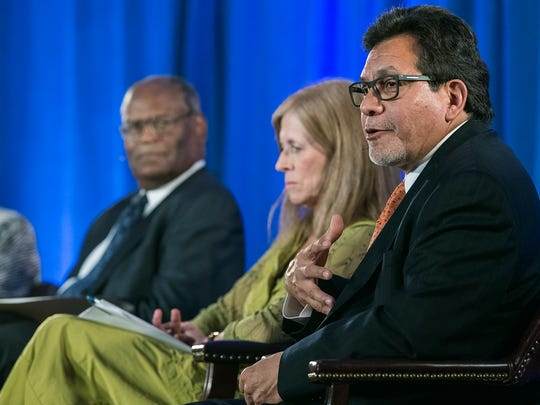 Former U.S. Attorney General Alberto Gonzales answers a question during a judicial panel assembled for MTSU's 2017 Constitution Day celebration Wednesday inside the James Union Building. Next to him is Penny White, former Tennessee Supreme Court justice and at left is Curtis Collier, senior judge, U.S. District Court, Eastern District of Tennessee.