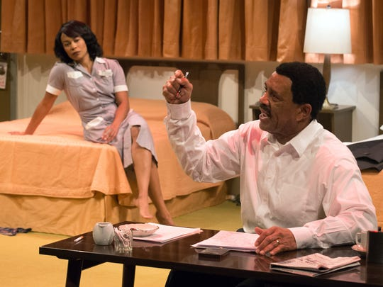 "Antoinette Robinson, left, plays Camae and Hassan El-Amin is Martin Luther King Jr. in the UD Resident Ensemble Playes production of ""the Mountaintop."""