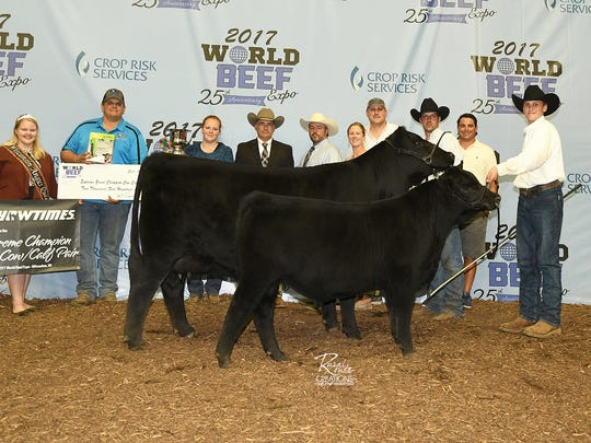 Supreme Champion Cow/Calf Pair was an Angus exhibited by Rocklin Farms, Rockbridge, IL