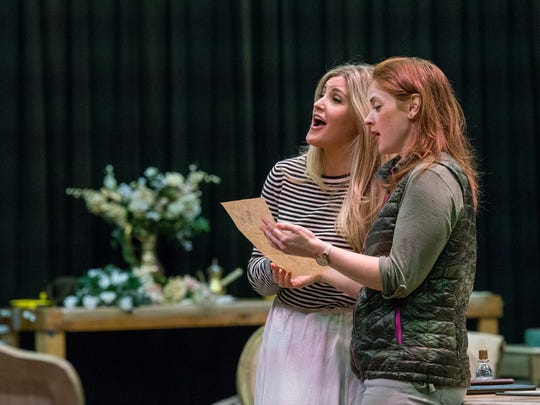 "Michigan Opera Theatre's Julie Adams (Countess Almaviva) and Maeve Hoglund (Susanna) rehearse ""The Marriage of Figaro."""
