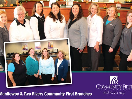 The staff of the Manitowoc and Two Rivers branches of Community First Credit Union.