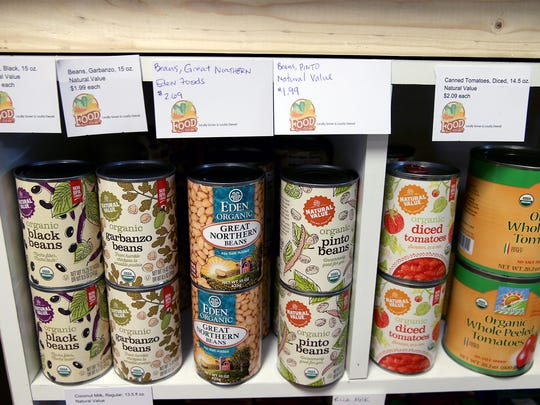 Canned goods at Kitsap Community Food Co-op, a cooperative grocery in Bremerton, WA.