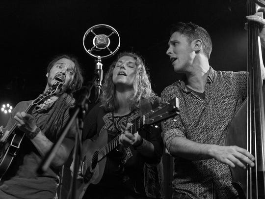 Dead Horses opens the Fireside Coffeehouse Concert series Jan. 13 at Door Community Auditorium. The indie-folk band is led by Sarah Vos, center, and Daniel Wolff, right, joined by mandolinist Ryan Ogburn.