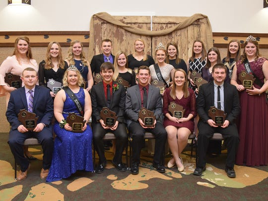 Receiving Distinguished Junior Member honors this year are (front row from left) Austin Nauman, Kelsey Cramer, Sam Minch, Joey Opsal, Jenna Broege, and Ryan Smith. Back row (from left) Carley Krull, Lindsey Sarbacker, Danielle Warmka, Dawson Nickels, Carmen Haack, Alli Walker, Allie Breunig, Nicole Pralle, Kalista Hodorff, Rachel McCullough, Kaianne Hodorff, and Brooke Trustem.
