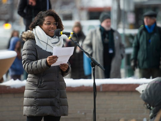 CSU graduate student and march leader Jaelyn Coates