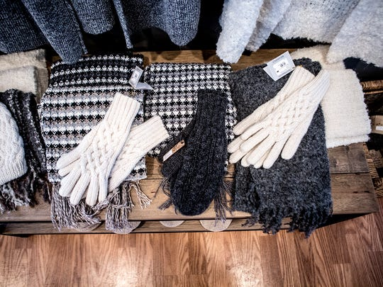 Gloves and scarves available at the newly opened Granville Alpaca Station.