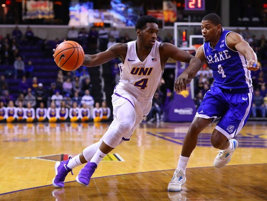 UNI's Tywhon Pickford drives to the basket during Tuesday's