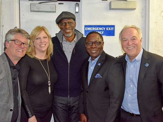 Americana artist Keb' Mo', center, greets MTSU and Americana Music Association partners, including, from left, Association Executive Director Jed Hilly; MTSU Recording Industry Chair Beverly Keel; MTSU President Sidney A. McPhee; and MTSU Media and Entertainment Dean Ken Paulson at a pre-Grammy event in New York.