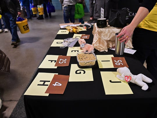 A close-up of the agricultural products game table at the Purdue University Extension Service booth at the 2018 Fort Wayne Farm Show.