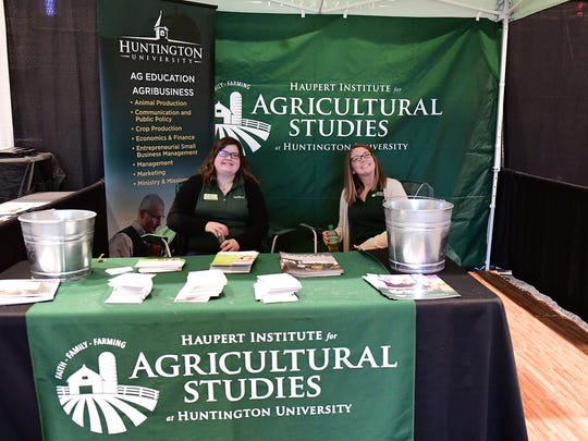 -Jessica Baggerman, Ph.D., assistant professor of agriculture, at Huntington University, Huntington, IN, and agribusiness student Karley Hockemeyer, represented the University's new Haupert Institute for Agricultural Studies at the Farm Show.