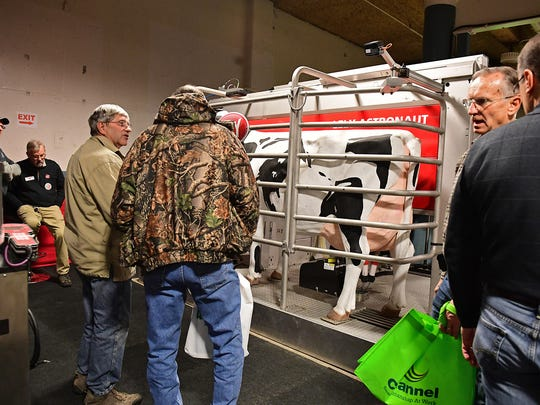The Lely Astronaut robotic milking system attracted a lot of attention from dairymen and women attending the 2018 Fort Wayne Farm Show.