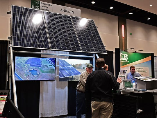 Renewable Energy Systems, Avilla, IN, showcased their solar panels during the 2018 Fort Wayne Farm Show.
