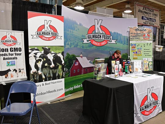 Kalmbach Feeds from Upper Sandusky, OH, offered organic, non-GMO livestock and poultry nutritional products in their booth at the 2018 Fort Wayne Farm Show.