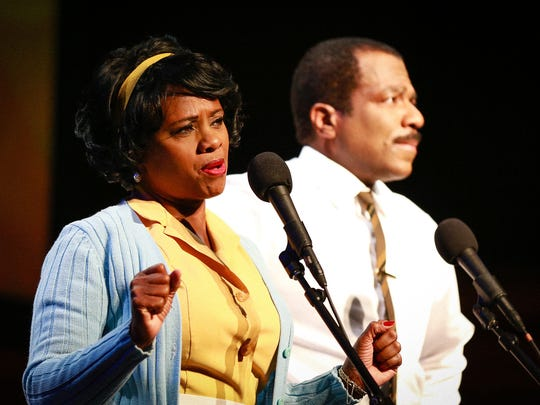 L.A. Theatre Works and Susan Albert Loewenberg, Producing Director, present The Mountaintop by Katori Hall. Starring Gilbert Glenn Brown as Dr. Martin Luther King, Jr., and Karen Malina White as Camae. Photography © Kirk Richard Smith. All rights reserved.