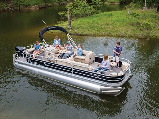 SunTracker pontoon boats like this one are made at the Bolivar plant in Missouri.