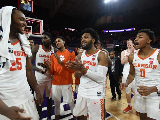 Clemson celebrates their win over Florida State on Wednesday, February 28,  2018 at Clemson's Littlejohn Coliseum.