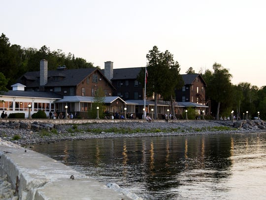 Waterfront view of the lodge at Alpine Resort, Egg