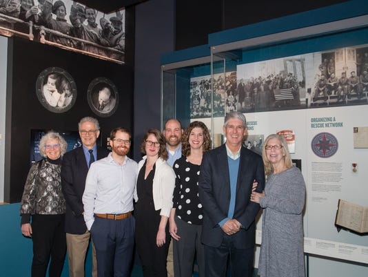 19 April 2018, Friends, family, and artifact donors tour the new Americans and the Holocaust Exhibition before it opens to the public.