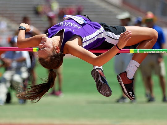 Macy Flowers clears the bar in the girls 1A high jump Friday afternoon at the UIL Track and Field State Championships being held at the University of Texas Mike Myers Stadium.