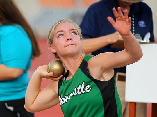 Arryn Eli of Newcastle competes in the A shot put on Saturday.