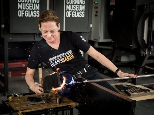 The GlassBarge includes free glass blowing demonstrations.