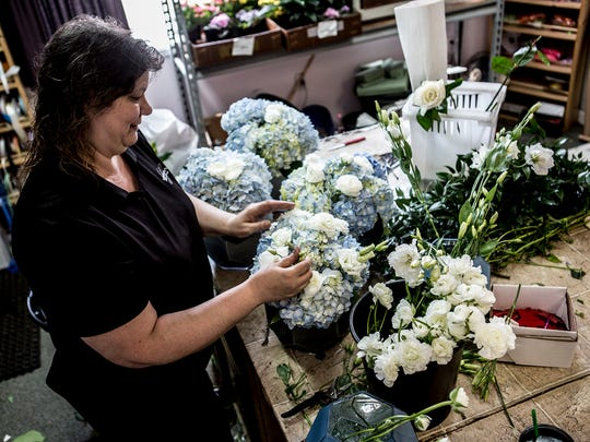 Mary Harter, who works at Griffen's Floral Design in