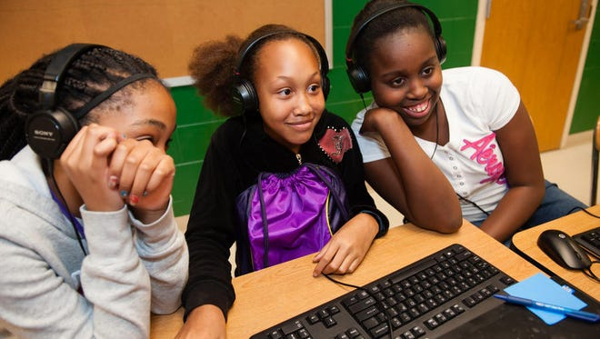 Students at Northwoods Middle School in North Charleston, S.C., learn the joys of computer coding thanks to a Google-led program to get girls interested in science and programming.