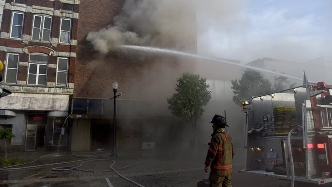 Fire at 219 Main St. in Evansville in June 2016.