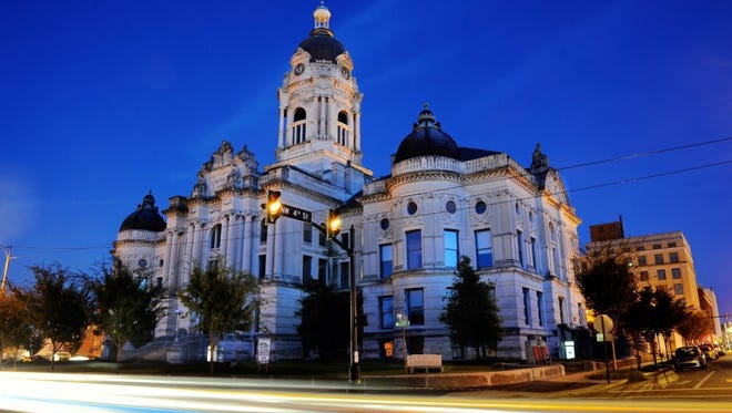 The old Vanderburgh County Courthouse.