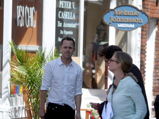 Actor Giovanni Ribisi waited between shots as downtown Nyack was transformed into a mythical town called Rosedale during shooting of the Amazon series ÒSneaky PeteÓ Aug. 1, 2017. The series is being shot throughout Nyack Tuesday and Wednesday.