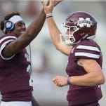 Mississippi State quarterbacks Elijah Staley (left) and Nick Fitzgerald are on opposite teams for Saturday's spring game.