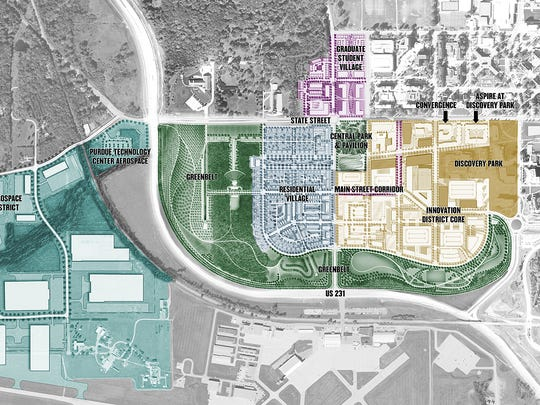 "Plans are being made for single-family housing, graduate student housing and commercial uses, shown in this map of the Discovery Park District, released this week by Purdue Research Foundation and Browning Investments. The plan is to develop a ""work-live-play"" district on Purdue's western campus over the next two decades."