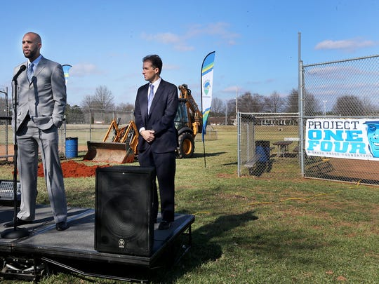 Boston Red Sox pitcher David Price, left, talks about the Miracle Field project before breaking ground, on Thursday, Feb. 4, 2016, at McKnight Park. Murfreesboro Mayor Shane McFarland next to Price.