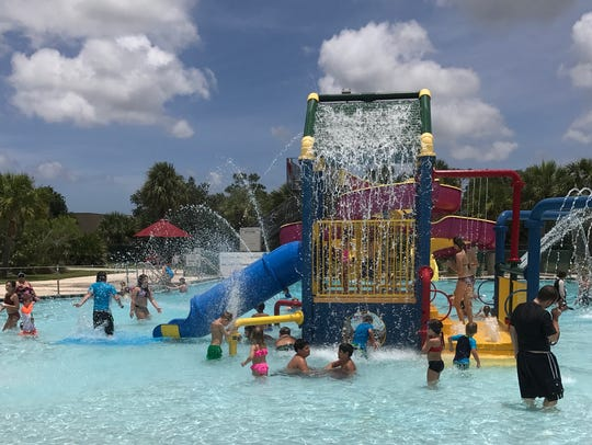 The activity zone at the North County Pool features