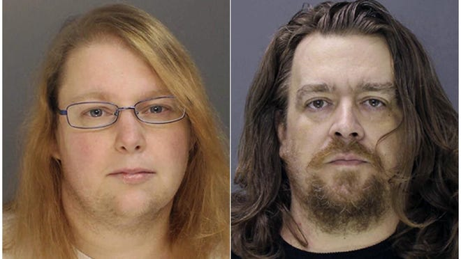 This combination of file photos provided on Sunday, Jan. 8, 2017, by the Bucks County District Attorney shows Sara Packer, left, and Jacob Sullivan.