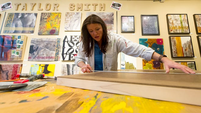 Taylor Smith works in her Stutz studio. Artists that create works in The Stutz Business Center will be participating in the Raymond James 2014 Stutz Artists Open House, April 25th and 26th.