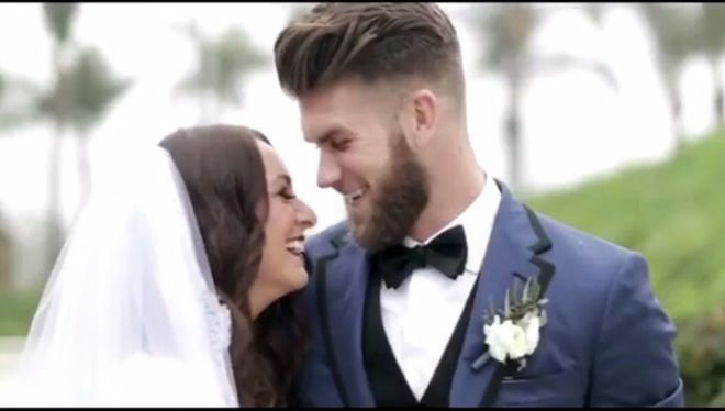 Bryce Harper and his wife celebrate their wedding day in San Diego.