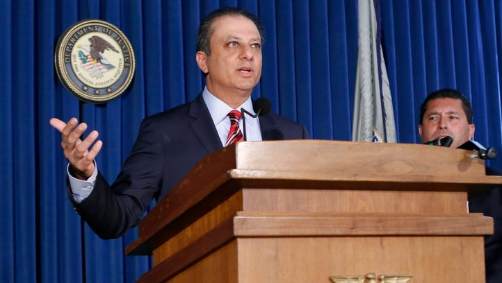 U.S. Attorney Preet Bharara speaks during a news conference at the U.S. Attorney's office in New York, Thursday, Sept. 17, 2015.