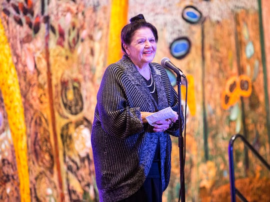 """Retired custom bridal designer Francesca Bianco tells her story during the Arizona Storytellers """"Stories of a Stylish Life"""" event at the Phoenix Art Museum on Wednesday, March 4, 2015."""