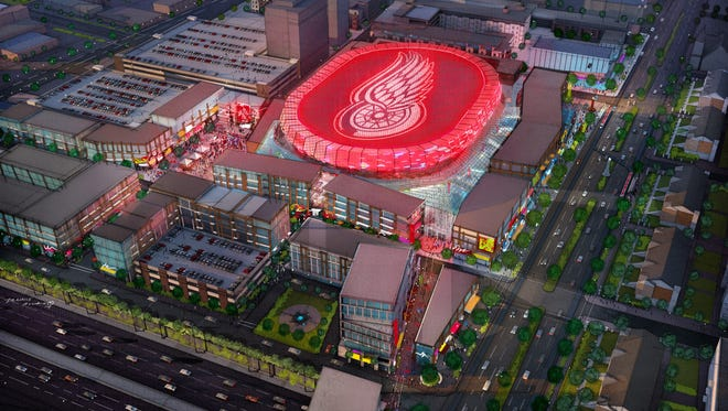 A rendering provided by the Olympia Development of Michigan, shows the proposed entertainment district that includes a new 18,000-seat hockey arena for the Detroit Red Wings. The city's Downtown Development Authority approved on Tuesday, Sept. 16, 2014, the bond financing plan for the district.   (AP Photo/Olympia Development of Michigan)