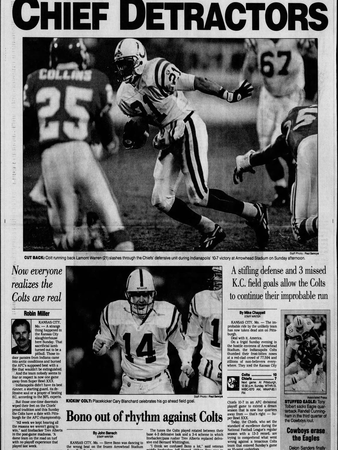 Indianapolis Star's Sports front after the Colts upset Kansas City in the 1995 postseason