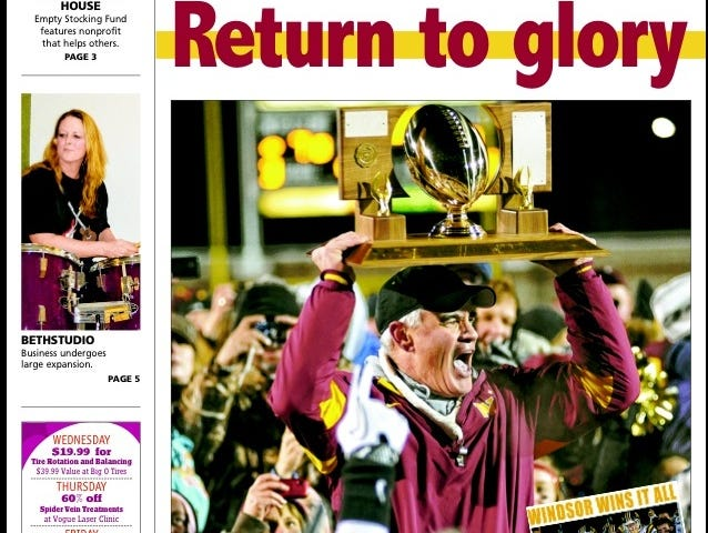 The Dec. 7, 2011 cover of the Windsor Beacon after Windsor's 14-7 win over Silver Creek in the 3A title game.