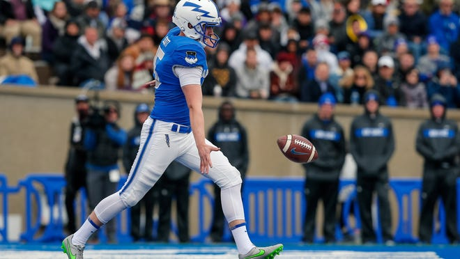 Oct 6, 2018; Colorado Springs, CO, USA; Air Force Falcons place kicker Charlie Scott (15) punts the ball in the first quarter against the Navy Midshipmen at Falcon Stadium. Mandatory Credit: Isaiah J. Downing-USA TODAY Sports