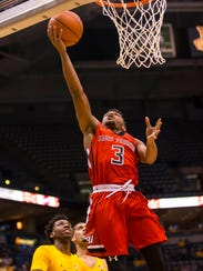 St Francis Red Flash guard Jamaal King (3) shoots during