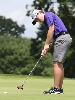 Fletcher Clark putts on the 15th green during the First Tee of Canton Junior Tour Points Championship at Congress Lake Club on Monday, July 27, 2020. He won the boys 13-15 division.
