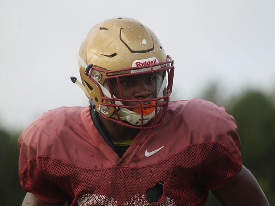 Florida High's Cam Brown practices for the 2016 season.
