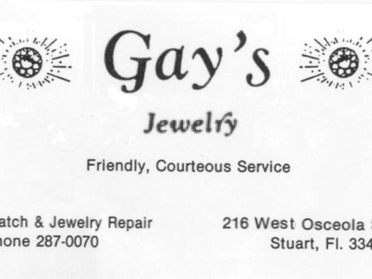Gay's Jewelry business card.