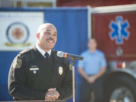 Montgomery Fire Chief Miford Jordan speaks during a