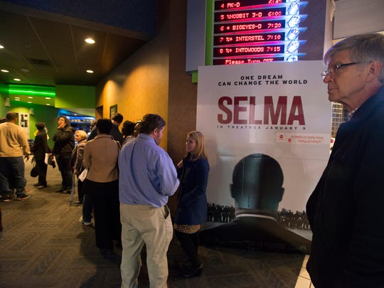 Ed Bridges stands in line for a screening of Selma at the AMC Festival 16 in Montgomery, Ala., on Tuesday, Jan. 6, 2015.