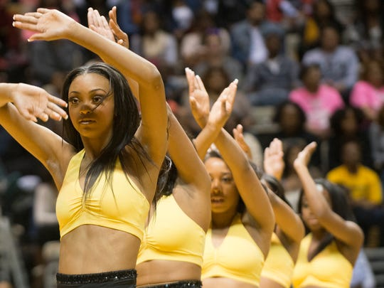 Alabama State University stingettes dance during the half time of the SWAC conference game between ASU and Alabama A&M on Feb. 14, 2015, at the Dunn-Oliver Acadome in Montgomery.